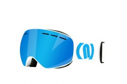 GOGLE NEON ALIEN WHITE/CYAN SZYBA BLUE CAT3
